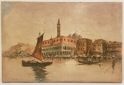 Original Old Oil Painting on Canvas The Grand Canal The Venetian Art 24quot; x 36quot; $149.95