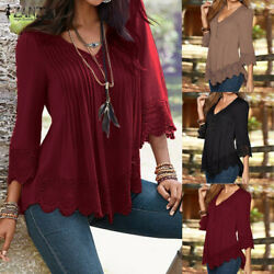 US STOCK Women Sexy V Neck Summer Casual Shirt Tops Lace Pleated Blouse T Shirt $13.79