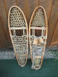 GREAT Snowshoes 36quot; Long x 10quot; Wide with Leather Bindings BEAR PAW DECORATIVE $49.46