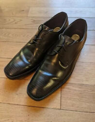 Kenneth Cole Mens Set Your Clock Dress Shoes Black Leather Silver Technology 10M $19.99
