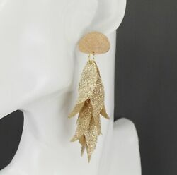 Gold chandelier earrings sparkly leaf dangle pendant wiggly leaves 3.5quot; long $10.99