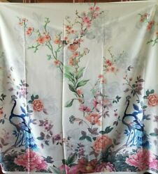 Gorgeous Large Scale Peacock Floral Poly Charmeuse from Italy PANEL $26.00