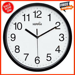 Large Wall Clock Silent Indoor Outdoor Battery Powered Analog Office Home School $12.40