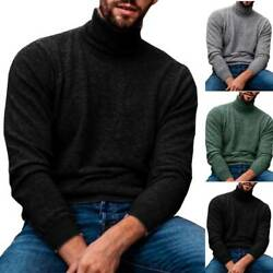 Mens High Neck Knit Pullover T Shirts Solid Warm Casual Tunic Tee Shirt Knitwear $23.99