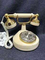 Western Electric Princess Rotary Dial French Desk Phone Bell Beige Brass $26.70