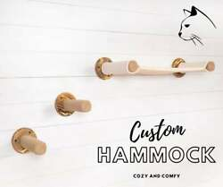 Wall Mounted Custom Hammock With Seisal Rope Cat Post Steps Durable Wood Cat S $55.00