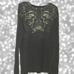 Affliction Thermal Mens XL Long Sleeve Waffle Knit Black Faded $25.00