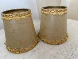 A Pair Of Small Vintage Lampshades parchment Braided 4 Inch Tall Pop On Bulb GBP 16.00