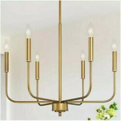LNC Farmhouse 6 Light Brushed Brass Gold Chandelier Candle Style A03813 $101.66