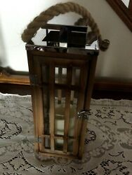 Neat Decorative Indoor Wood Glass Lantern Flameless Candle Battery Timer $10.99