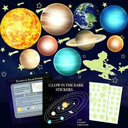 Glow in The Dark Stars and Planets Kids Wall Decor Stickers for Ceiling $6.21