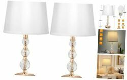 3 Way Dimmable Touch Crystal Bedroom Lamp with USB and Type C Set of 2 White $124.57