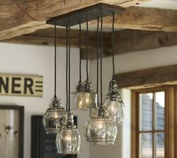 NEW IN BOX Pottery Barn Paxton 8 Light Pendant Chandelier For 8#x27; Ceiling Bronze $599.00