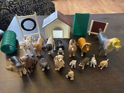 Vintage Rubber Plastic Dog Toy Figures Lot of 16 Mixture Of Dog Breeds New Ray $26.50