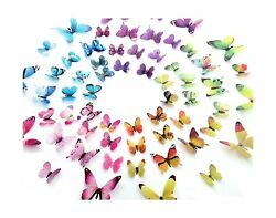 60PCS Butterfly Wall Decor for Wall 3D Butterflies Wall Stickers Removable Mural $10.89