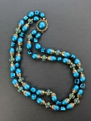 Vintage Lucite Turquoise amp; Gold Colored Multi Strand Bead Necklace Gorgeous $17.99