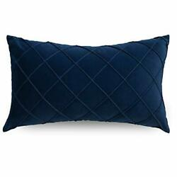 Lumbar Pillow Cover 12x20 Inch Pleated Decorative Small 12quot;x20quot; Navy Blue $11.92