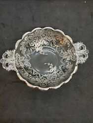 Vintage Crystal Candy Dish with Silver Overlay and Handles $13.00