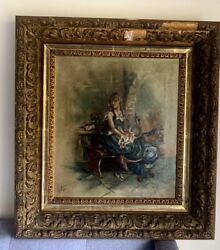 Estate Found antique oil painting on canvas by Lucy Fields Dated 1898 $295.00