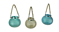 Glass Globe 5 inch Tealight Candle Lanterns with Rope Handles Set of 3 $30.01