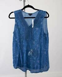 NWT New Directions Blue Tank Top Size Large with Flowers New Originally $44 $14.95