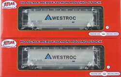 Atlas HO Scale 3 Bay Cylindrical Hopper Car WESTROC NAHX Lot of Two New $70.85