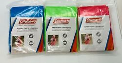 COLEMAN EMERGENCY PONCHO. LOT OF 3 Universal Size Multiple Colors $5.99