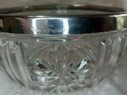 """Vintage Crystal Bowl with Silverplate Rim 8"""" x 4"""" Made in England $20.99"""