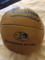 Vintage Champion Barbell Company Brown Leather Medicine Ball 8 9 LBS. Weight $9.90