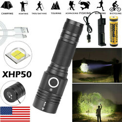 Most powerful 90000LM Flashlight On or off click Telescopic focusing Charger BE $27.70