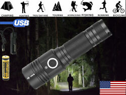 Most powerful 90000LM Flashlight On or off click Telescopic focusing Charger B4 $18.01