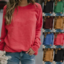 Womens Crew Neck Long Sleeve T Shirt Casual Solid Blouse Loose Comfy Tunic Tops $9.99