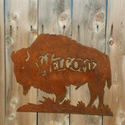 Buffalo Bison Sign Cabin décor Lodge home décor Western Home on the Range Metal $59.99