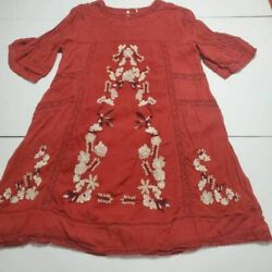 Free People Womens Shift Dress Red Mini Keyhole Crew Bell Sleeve Embroidered S $21.99