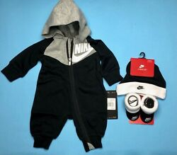 NEW AIR NIKE Baby BOYS 3 pc GIFT SET: Jumpsuit Cap amp; Booties 0 6 Months. $39.99