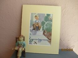 vintage illustration of boy with birds and animals by Frances Ingersoll 1947 $12.50