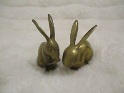 Vintage Pair Brass Hares Bunny Rabbit Hare Figurines 5quot; Paper Weight $12.99