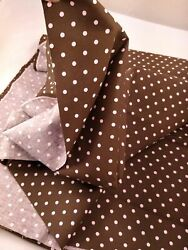 100% cotton BROWN PINK POLKA DOT CANVAS FABRIC 3yd x 44w vintage material NEW $24.98