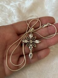 """Large crystal and marcasite cross pendant on 20"""" 925 snake rope chain necklace $12.50"""