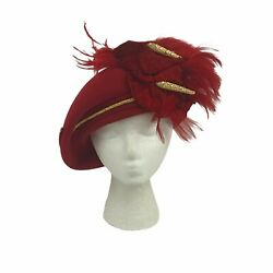 Vtg Jack McConnell Boutique Red Feather Faux Gold Jeweled Coral Gold Trim. $129.00