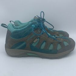 Merrell Chameleon Mid Hiking Women Size 7 Grey Turquoise Waterproof Lace Boot $42.97