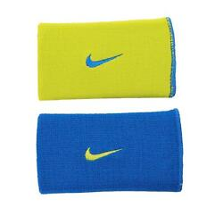 Nike Dri Fit Home and Away Doublewide Wristbands Military Blue Volt $11.99