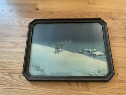 Antique Lone Wolf Print Wood Frame Glass Picture Western Art Vintage $55.00