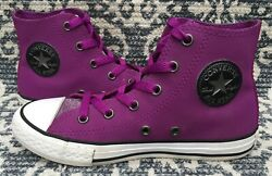 Converse All Star High Top Shoes Junior Size 1 Leather Purple Youth $14.95