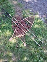 Vintage Iverson#x27;s Snowshoes With Poles Ready To Use Or As Decoration $80.00