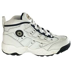 Spalding Leather High Top Basketball Sneakers Mens Sz 7.5 White Navy Vintage New $65.00