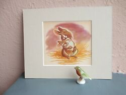 vintage illustration of mother and baby rabbit by Rachel Dixon 1954 $12.50