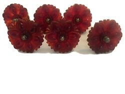 """6 RED ANTIQUE SANDWICH PRESSED GLASS MEDALLION CURTAIN TIE BACKS 3"""" WIDE $189.00"""