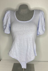 Free People Ava Bodysuit Lunar Bloom Blue In Size Small With Puffed Sleeves $20.00