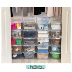 New 20 Pack Shoe Storage Boxes Plastic Bin with Lid Stackable Design Container $32.05